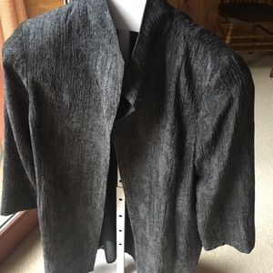 Eileen Fisher black long dress jacket. L.